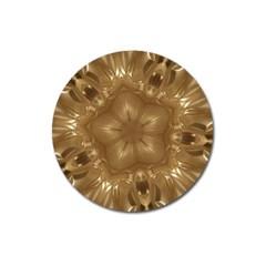 Elegant Gold Brown Kaleidoscope Star Magnet 3  (round) by yoursparklingshop