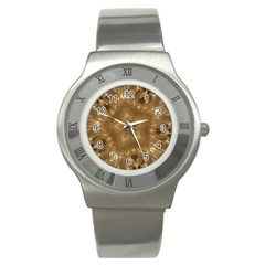 Elegant Gold Brown Kaleidoscope Star Stainless Steel Watch by yoursparklingshop