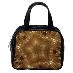 Elegant Gold Brown Kaleidoscope Star Classic Handbags (one Side) by yoursparklingshop