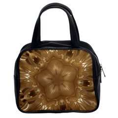 Elegant Gold Brown Kaleidoscope Star Classic Handbags (2 Sides) by yoursparklingshop