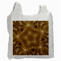 Elegant Gold Brown Kaleidoscope Star Recycle Bag (one Side) by yoursparklingshop