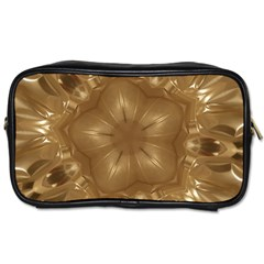 Elegant Gold Brown Kaleidoscope Star Toiletries Bags 2 Side by yoursparklingshop