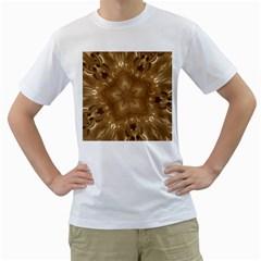 Elegant Gold Brown Kaleidoscope Star Men s T Shirt (white)  by yoursparklingshop