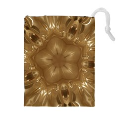Elegant Gold Brown Kaleidoscope Star Drawstring Pouches (extra Large) by yoursparklingshop