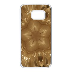 Elegant Gold Brown Kaleidoscope Star Samsung Galaxy S7 White Seamless Case by yoursparklingshop