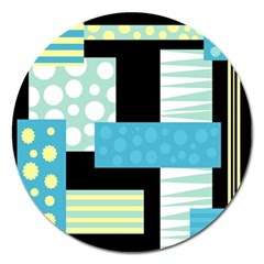 Blue Collage Magnet 5  (round) by Valentinaart