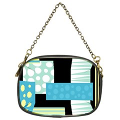 Blue Collage Chain Purses (one Side)  by Valentinaart