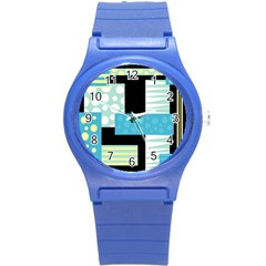 Blue Collage Round Plastic Sport Watch (s) by Valentinaart