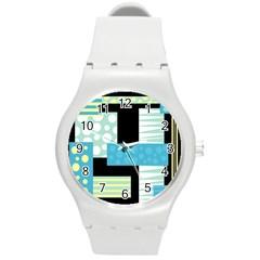 Blue Collage Round Plastic Sport Watch (m) by Valentinaart