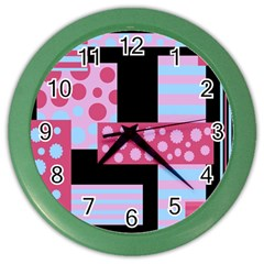 Pink Collage Color Wall Clocks by Valentinaart
