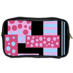 Pink Collage Toiletries Bags 2 Side by Valentinaart