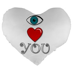 I Love You Large 19  Premium Flano Heart Shape Cushions by Valentinaart