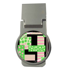 Green And Pink Collage Money Clips (round)  by Valentinaart