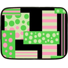Green And Pink Collage Double Sided Fleece Blanket (mini)  by Valentinaart