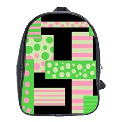 Green And Pink Collage School Bags(large)  by Valentinaart