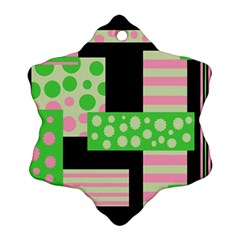 Green And Pink Collage Ornament (snowflake)  by Valentinaart