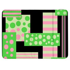 Green And Pink Collage Samsung Galaxy Tab 7  P1000 Flip Case by Valentinaart