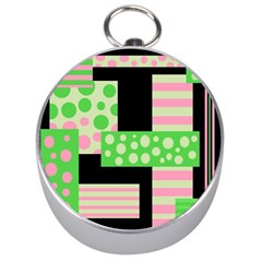 Green And Pink Collage Silver Compasses by Valentinaart