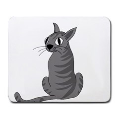 Gray Cat Large Mousepads by Valentinaart