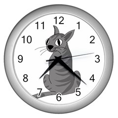Gray Cat Wall Clocks (silver)  by Valentinaart
