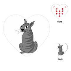 Gray Cat Playing Cards (heart)  by Valentinaart