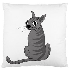 Gray Cat Large Cushion Case (one Side) by Valentinaart