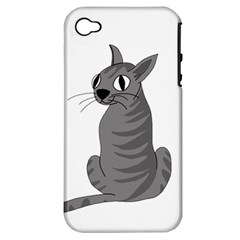Gray Cat Apple Iphone 4/4s Hardshell Case (pc+silicone) by Valentinaart