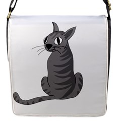Gray Cat Flap Messenger Bag (s) by Valentinaart