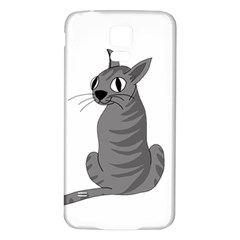Gray Cat Samsung Galaxy S5 Back Case (white) by Valentinaart