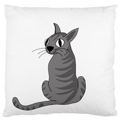 Gray Cat Standard Flano Cushion Case (two Sides) by Valentinaart
