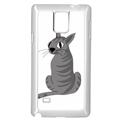 Gray Cat Samsung Galaxy Note 4 Case (white) by Valentinaart