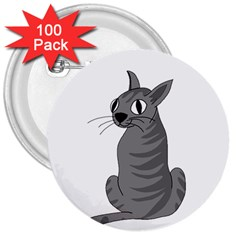 Gray Cat 3  Buttons (100 Pack)  by Valentinaart