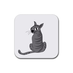 Gray Cat Rubber Coaster (square)  by Valentinaart