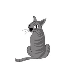 Gray Cat Shower Curtain 48  X 72  (small)  by Valentinaart