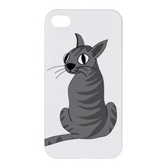 Gray Cat Apple Iphone 4/4s Premium Hardshell Case by Valentinaart