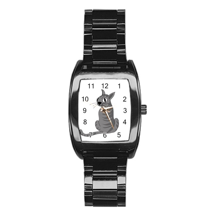 Gray cat Stainless Steel Barrel Watch
