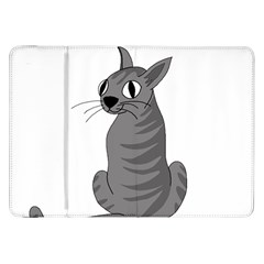 Gray Cat Samsung Galaxy Tab 8 9  P7300 Flip Case by Valentinaart