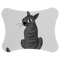 Gray Cat Jigsaw Puzzle Photo Stand (bow) by Valentinaart