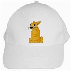 Yellow Cat White Cap by Valentinaart