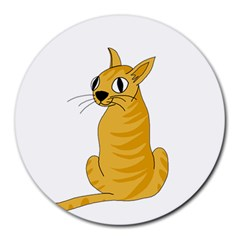 Yellow Cat Round Mousepads by Valentinaart