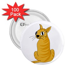 Yellow Cat 2 25  Buttons (100 Pack)  by Valentinaart
