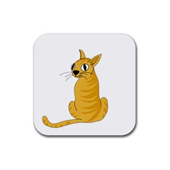 Yellow Cat Rubber Square Coaster (4 Pack)  by Valentinaart