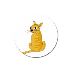 Yellow Cat Magnet 3  (round) by Valentinaart
