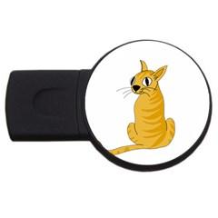 Yellow Cat Usb Flash Drive Round (4 Gb)  by Valentinaart