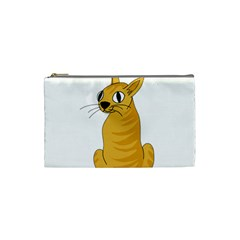 Yellow Cat Cosmetic Bag (small)  by Valentinaart