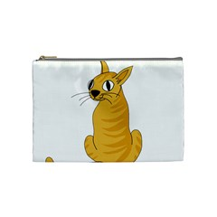 Yellow Cat Cosmetic Bag (medium)  by Valentinaart