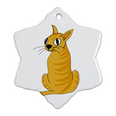 Yellow Cat Snowflake Ornament (2 Side) by Valentinaart