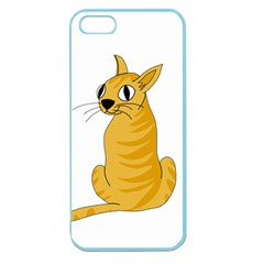 Yellow Cat Apple Seamless Iphone 5 Case (color) by Valentinaart