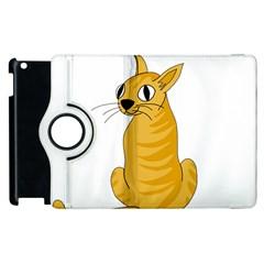 Yellow Cat Apple Ipad 2 Flip 360 Case by Valentinaart