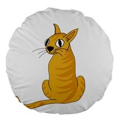Yellow Cat Large 18  Premium Round Cushions by Valentinaart